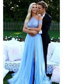 Gorgeous A Line Halter Backless Split Tulle Blue Long Prom Dresses with Beading, Elegant Formal Evening Dresses