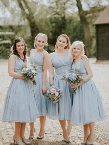 Elegant A Line V Neck Open Back Light Blue Chiffon Tea Length Bridesmaid Dresses Under 100