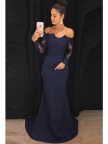 Charming Mermaid Off the Shoulder Long Sleeves Navy Lace Long Prom Dresses, Elegant Evening Dresses