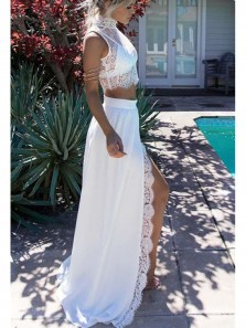 Charming Sheath Two Piece Round Neck Long Sleeves Split White Lace Prom Dresses, Formal Elegant Evening Dresses PD0831003