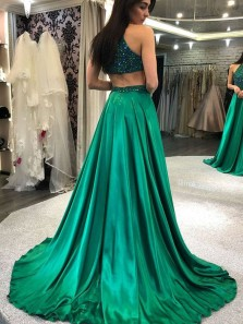 Charming A Line Hatler Satin Beaded Green Long Prom Dresses with Train, Sparkly Evening Dresses
