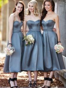 A Line Sweetheart Pleats Grey Satin Tea Length Bridesmaid Dresses