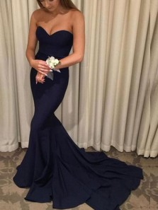 Charming Mermaid Sweetheart Backless Elastic Satin Dark Navy Long Prom Dresses with Train, Elegant Evening Dresses