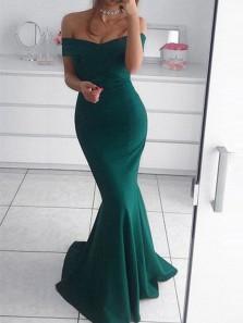 Charming Mermaid Off the Shoulder Backless Green Satin Long Prom Dresses, Formal Elegant Evening Dresses
