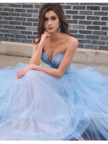 Fariy A Line Sweetheart Open Back Organza & Chiffon Blue Lace Long Prom Dresses, Quinceanera Dresses PD0831012
