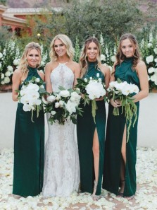 Elegant Sheath Halter Satin Split Dark Green Long Bridesmadi Dresses BD0902001