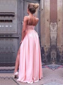 Charming A Line V Neck Backless Split Pink Long Prom Dresses, Sexy Evening Dresses