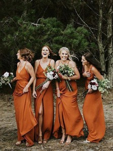 Charming Sheath V Neck Spaghetti straps Orange Wrap Bridesmaid Dresses Under 100 BD0902003