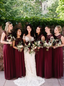 Elegant Sheath Round Neck Open Back Burgundy Lace Long Bridesmaid Dresses BD0902004