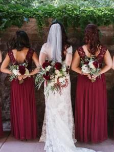 Elegant Sheath Round Neck Open Back Burgundy Lace Long Bridesmaid Dresses BD0902004