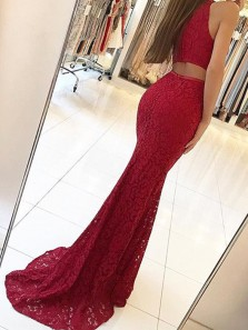 Charming Mermaid Round Neck Dark Red Lace Long Prom Dresses with Train, Elegant Evening Dresses PD0902005