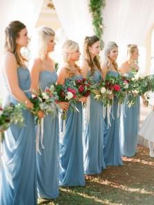 Charming Sheath Sweetheart Backless Chiffon Blue Long Bridesmaid Dresses Under 100 BD0902005