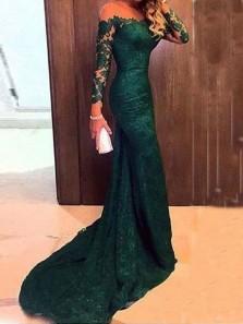 Charming Mermaid Off the Shoulder Long Sleeves Dark Green Lace Prom Dresses, Elegant Evening Dresses PD0902002