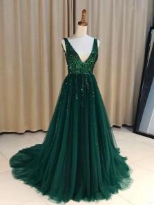 Charming Ball Gown V Neck Backless Dark Green Long Prom Dresses with Beading, Elegant Evening Dresses