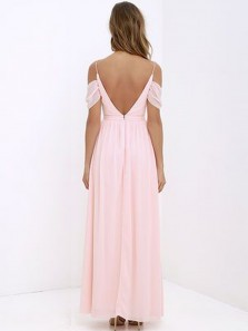 Charming V Neck Spaghetti Straps Backless Chiffon Pink Long Bridesmaid Dresses Under 100