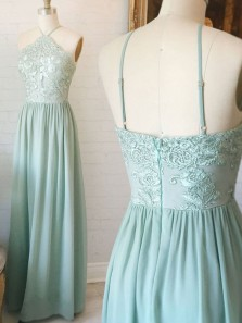 Charming A Line Halter Open Back Mint Lace Long Prom Dresses, Elegant Evening Dresses