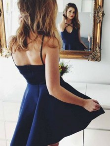 Cute A Line Spaghetti Straps Open Back Navy Short Homecoming Dresses Under 100, Short Prom Dresses