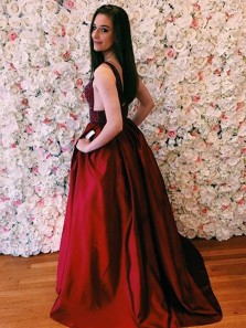 Gorgeous Ball Gown V Neck Open Back Burgundy Beaded Long Prom Dresses, Elegant Evening Dresses PD0902005