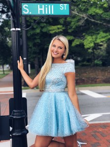 Sparkly A Line Scoop Open Back Cap Sleeves Light Blue Beaded Short Homecoming Dresses, Cute Short Prom Dresses HD0902004