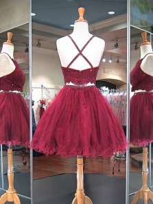 Cute A Line Two Piece Round Neck Burgundy Lace Short Homecoming Dresses with Beading, Short Prom Dresses