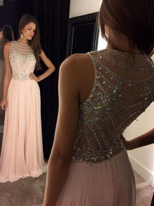 Charming A Line Round Neck Chiffon Peach Long Prom Dresses with Beading, Elegant Evening Dresses PD0903001