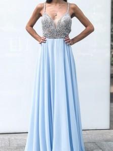 Gorgeous A Line V Neck Spaghetti Straps Chiffon Light Blue Long Prom Dresses with Beading, Elegant Evening Dresses PD0903003