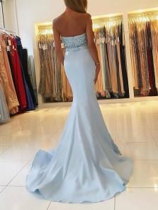 Charming Mermaid Sweetheart Light Blue Long Prom Dresses with Beading, Elegant Evening Dresses