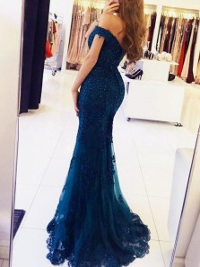 Charming Mermaid Off the Shoulder Open Back Navy Lace Long Prom Dresses with Beading, Elegant Evening Dresses PD0903005