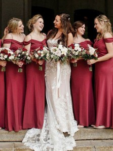 Elegant Sheath Off the Shoulder Elastic Satin Burgundy Long Bridesmaid Dresses Under 100