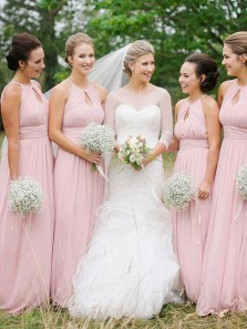 Elegant A Line Halter Open Back Chiffon Pink Long Bridesmaid Dresses Under 100