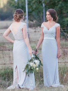 Charming Sheath V Neck Cap Sleeves Light Blue Lace Bridesmaid Dresses