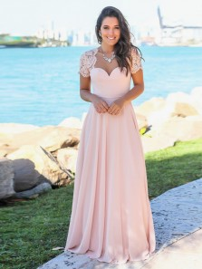 Elegant A Line Sweetheart Open Back Short Sleeves Pink Lace Long Bridesmaid Dresses