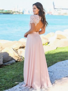 Elegant A Line Sweetheart Open Back Short Sleeves Pink Lace Long Bridesmaid Dresses