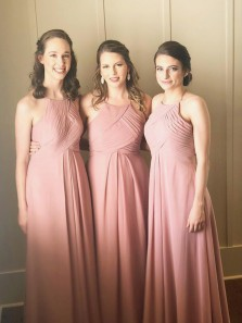 Elegant Sheath Halter Chiffon Blush Long Bridesmaid Dresses Under 100