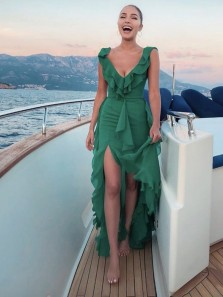 Charming A Line V Neck Open Back Ruffle Chiffon Green Long Prom Dresses, Beautiful Evening Party Dresses PD0903007