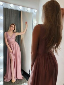 Charming A Line V Neck Open Back Split Blush Long Prom Dresses, Evening Party Dresses