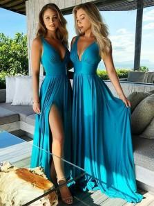 Gorgeous A Line V Neck Open Back Blue Split Long Bridesmaid Dresses Under 100 BD0904006
