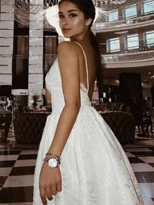 Cute A Line V Neck Open Back Spaghetti Straps White Lace Short Homecoming Dresses, Short Prom Dresses