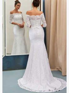 Elegant Mermaid Off the Shoulder Half Sleeves White Lace Long Wedding Dresses