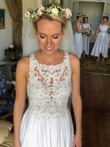 Gorgeous A Line Round Neck White Lace Long Wedding Dresses with Train, Beach Wedding Dresses