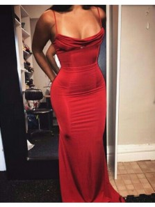 Charming Mermaid Spaghetti Straps Dark Red Long Prom Dresses with Train, Sexy Evening Dresses PD0903008