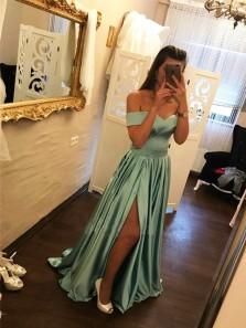 Charming A Line Off the Shoulder Grey Blue Long Prom Dresses with Train, Elegant Evening Dresses