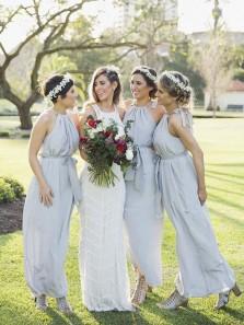 Sheath Halter Chiffon Grey Long Bridesmaid Dresses Under 100