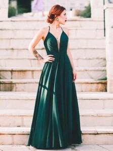 Charming A Line V Neck Cross Back Satin Dark Green Long Prom Dresses, Elegant Evening Dresses