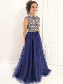 Charming Ball Gown High Neck Open Back Navy Blue Long Prom Dresses with Beading, Elegant Evening Dresses PD0904005