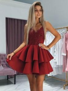 Cute A Line V Neck Spaghetti Straps Open Back Burgundy Lace Short Homecoming Dresses, Elegant Short Prom Dresses