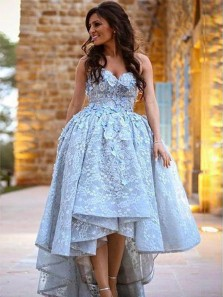 Charming Ball Gown Sweetheart Open Back Light Blue Lace High Low Prom Dresses, Elegant Evening Party Dresses