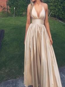 Elegant A Line V Neck Spaghetti Straps Open Back Champagne Long Prom Dresses Under 100, Long Evening Dresses