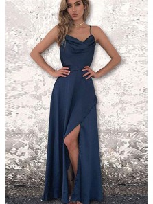 Charming A Line Spaghetti Straps Split Navy Long Prom Dresses Under 100, Elegant Evening Party Dresses