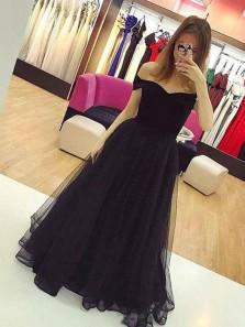 Charming Ball Gown Off the Shoulder Tulle Black Long Prom Dresses, Elegant Evening Dresses